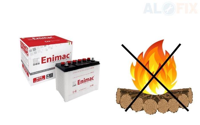 để bình ắc quy Enimac tránh xa nguồn nhiệt