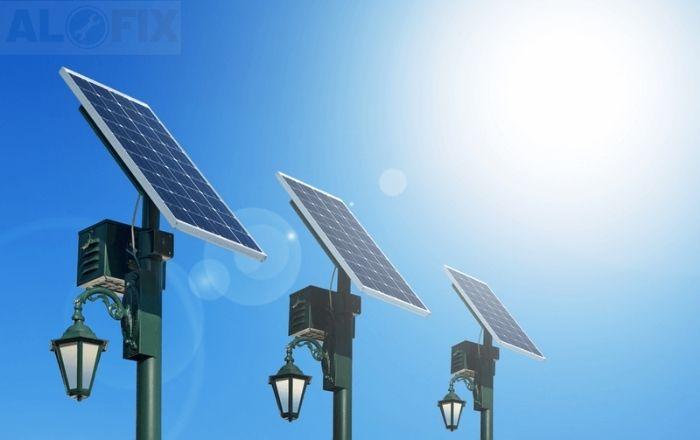 đèn pha led năng lượng mặt trời sử dụng ngoài trời